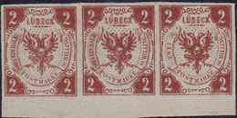 1859, Dreier-Randstreifen 2 Schilling Mit FEHLDRUCK 'ZWEI EIN HALB' (Bogenposition 96+97) Im Linken Schriftband Auf Der - Germania