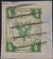 1859, 4 Schilling Auf Briefstück, Entwertet Mit 5-Strich Stempel, Teil Eines Blauen Firmenstempels Ersichtlich Als Diebs - Germania