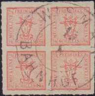1864, 4/4 Schilling, Durchstochen, Punktierter Grund, Fast Zentrisch Gestempelt WISMAR BAHNHOF, Spitzenwert - Germania