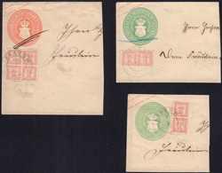 1864, Stempel KRAKOW: 4/4 Schilling Und 2 X 2 Pärchen 1/4 Schilling, Alles Auf Briefstücken Auf 3 Ganzsachen-Abschnitten - Alemania