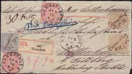 1870, Schöne 3-Farben- Frankatur Auf Briefvorderseite Von Darmstadt Nach Lüttenhagen/Mecklenburg-Strelitz, Bedarfserhalt - Alemania