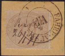 """1869, 10 Gr. Auf Kleinem Briefstück, Doppelentwertung BARMEN"""" Handschriftlich Sowie """"FAHRP. AUSGABE""""-Dkr., Seltene Kombi - Germania"""