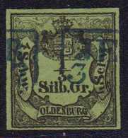 1855, 1/3 Silbergroschen / 4 Schwaren Schwarz Auf Grünoliv, Entwertet Mit Blauem, Zweizeiligen Rahmenstempel JE(VE)R 3.. - Germania