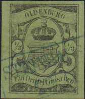 """1859, 1/3 Groschen Schwarz Auf Grün, Entwertet Mit Blauem, Zweizeiligen Rahmenstempel STEINHAUS(EN) 29 / 11"""". Allseits B - Alemania"""