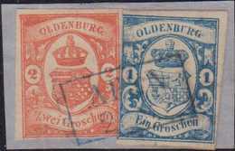 1859, 1 Groschen Dunkelkobaltblau Und 2 Groschen Schwärzlichrotorange Bis Dunkelzinnober Auf Kleinem Briefstück, Entwert - Germania