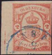 """1859, 2 Groschen Zinnoberrot, Entwertet Mit Blauem Zweikreisstempel (OLDENBURG) ... 5 4-8N"""". Drei Seiten Breitrandig Ges - Germania"""
