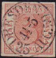 """1850, 3 Pf. Lebhaftrot Vom Typ II/2, Entwertet Mit Dem Doppelkreisstempel DRESDEN 4 1/2-5 25 AUG. 50"""". Die Marke Zeigt D - Germania"""