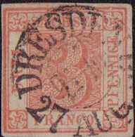 """1850, 3 Pf. Lebhaftrot Vom Typ II/10, Entwertet Mit Dem Doppelkreisstempel DRESDEN 9 1/2-10 27 AUG. 50"""". Die Marke Zeigt - Germania"""