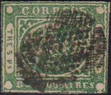 1858, BUENOS AIRES: 3 Pesos Grün, Farbfrisch, Leicht Dünn, Zentrische Klare Abstempelung - Argentinien