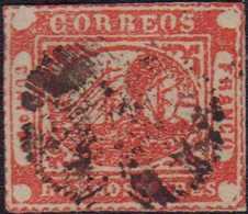 1858, BUENOS AIRES: 4 Pesos Rot, Kleiner Einriss, Frische Farbe, Zart Gestempelt, Selten Angeboten - Argentinien