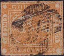 1858, BUENOS AIRES: 5 Pesos Gelb, Kleine Papierfalte, 3 Winzige Helle Stellen, Zeitgerechte Abstempelung, Selten Angebot - Argentinien