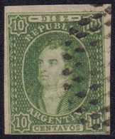 1864, RIVADAVIA, 10 C. Grün Ungezähnt, Dreiseitig Vollrandig, Unten Berührt, Selten - Argentinien