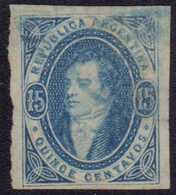 1864, RIVADAVIA 15 C. Blau, Mit Wasserzeichen, Sehr Breitrandig, Rechts Kleiner Einschnitt, Blaue Stempelfarbe Rückseiti - Argentinien