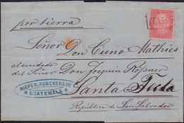 Ca. 1875, 20 Centavos Rosa Erstausgabe, Einzelfrankatur Aus Guatemala Stadt Nach SANTA TECLA / EL SALVADOR, Entwertet Mi - Guatemala
