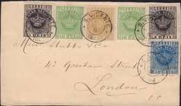 1884, KRONE-Erstausgaben: Vierfarben - Buntfrankatur Auf Briefvorderseite Aus S. VICENTE Nach LONDON, Zeitgerecht Entwer - Kap Verde