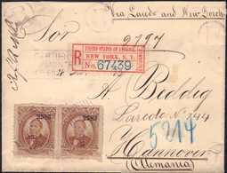 1883, R-Brief Mit Attraktiver Mehrfachfrankatur Paar 12 Ct. Staatspräsident Benito Juarez Garcia Mit Aufdruck Vom Bezirk - Messico