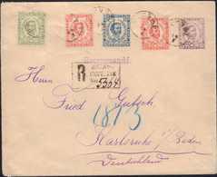 1893, R-Ganzsache 7 Neukreuzer, Zusatzfrankatur Mit Verschiedenen Wertstufen Marken 4. Auflage, Von CETINJE Nach Karlsru - Montenegro