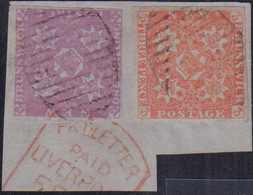 1851, 1 S. (rechte Untere Ecke Leicht Berührt) Zusammen Mit 3 P. Vollrandig, Leicht Und Sauber Gestempelt Auf Briefstück - New Brunswick