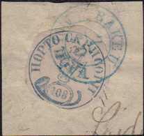 1858, Moldau 1. Ausgabe Ochsenkopf Zu 108 Parale Auf Kleinem Briefstück, Blau Auf Blassrosa, Rund Geschnitten, Unter Dem - Romania