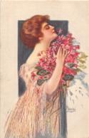 VECCHI- FEMME ORNEE D'UN BOUQUET DE FLEURS - Andere Illustrators