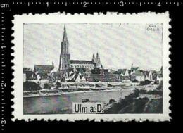 German Poster Stamp Cinderella Reklamemarke Vignette Ulmer Münster, Ulm Minster Cathedral Baden-Württemberg. - Eglises Et Cathédrales