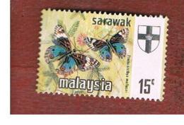 MALESIA: SARAWAK (MALAYSIA) -  SG 224   -  1971  BUTTERFLIES: PRECIS ORITHYA   - USED ° - Malesia (1964-...)