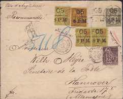 """1889, Briefvorderseite Eines Einschreibens Nach HANNOVER/DEUTSCHLAND, Mit Mischfrankatur 05/SPM"""" Provisorien (dreimal Au - Francia (vecchie Colonie E Protettorati)"""