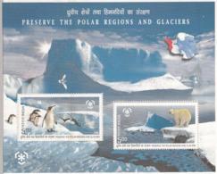 INDIA - 2009 PRESERVE POLAR REGIONS & GLACIERS- M/S- MNH- Penguins-Polar Bear-  Icebergs- Glaciers - Preservare Le Regioni Polari E Ghiacciai