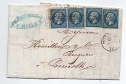1859 - LETTRE COMMERCIALE De RIVES (ISERE) Avec N° 14 X4 Dont PAIRE - 1849-1876: Période Classique