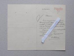 FOUCHERES (10) CHATEAU DE VAUX: AUTHENTIQUE Lettre à En-tête Manuscrite De 1910 - Signature: FONTENAY - 1800 – 1899