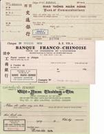 Saigon 3 Chèques 1960 Banque Franco-Chinoise Crédit Commercial Du Vietnam Indochine Chine Chèque Cheque Asie - Cheques En Traveller's Cheques