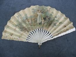 EVENTAIL ART NOUVEAU  Vers 1895 / 1900 RARE ! Angelots Amour Attrape Coeur @ 24 Cm De Long - Fans