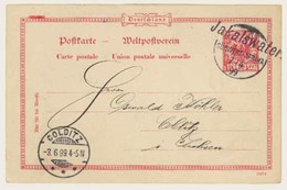 """GERMAN COLONIES. SOUTH WEST AFRICA. 1899. Jakalswater To Colditz. Fine 10pf Red Stationary. Postmark Straightline """"JAKAL - Germany"""