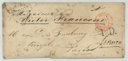 Enveloppe 1850 De St-Pétersbourg (Russie) à Paris . Cachet D'entrée Prusse Valenciennes . A Victor Franconi (cirque). - 1849-1876: Période Classique
