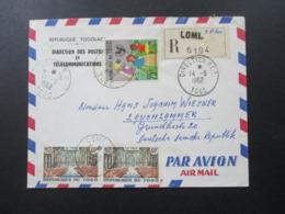 Frankreich Kolonie Togo 1962 Einschreiben Lome Stempel Direction P.T.T. Und Lome R.P. Togo Luftpost In Die DDR - Togo (1960-...)