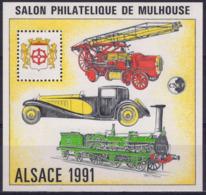 FRANCE 13 ** MNH Feuillet-souvenir CNEP : Salon De Mulhouse (Haut-Rhin) Alsace 1991 Pompier Bugatti  Train Musée [GR] - CNEP