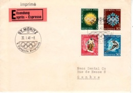 Schweiz Suisse 1948: Winter-Olympiade D'hiver Zu WIII25-28 Mi 492-495 Yv 449-452 Exprès ST.MORITZ 30.1.48 (Zu CHF 30.00) - Winter 1948: St. Moritz