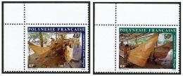 POLYNESIE 1986 - Yv. 266 Et 267 ** SUP Cdf  Cote= 3,00 EUR - Construction D'une Pirogue (2 Val.) ..Réf.POL21790 - Polynésie Française
