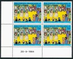 POLYNESIE 1984 - Yv. 225 ** TB Bloc De 4 Coin Daté  Cote= 13,50 EUR - Tableau De R. Tatin ..Réf.POL22074 - Polynésie Française