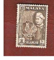 MALESIA: SELANGOR (MALAYSIA) - SG 121  -  1957  ANIMALS: PANTHERA TIGRIS       - USED ° - Selangor