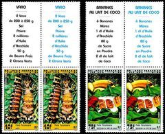 POLYNESIE 1988 - Yv. 295 Et 296 En Paires + Vignettes ** TB   - Plats Polynésiens  ..Réf.POL23284 - Polynésie Française