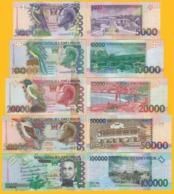 Saint Thomas & Prince / Sao Tomé E Principe Full Set 5000 10000 20000 50000 100000 Dobras 1996-2013 UNC Banknotes - San Tomé E Principe