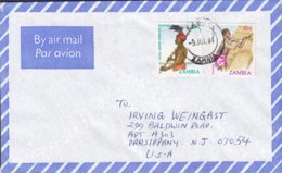 Zambia Air Mail Par Avion KABWE 1984 Cover Brief United States Royal Berge Paddler & Thatching Stamps - Zambia (1965-...)
