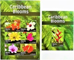 # Nevis 2015**SH.1887 + SS.1888 Caribbean Blooms , MNH [18;56] - Plants