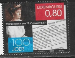 LUXEMBOURG, 2019, MNH,CENTENARY OF 1919 EFERENDUM, ROYAL FAMILIES, 1v - Other