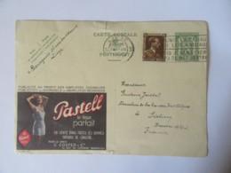 """Belgique - Entier Postal Publibel 35c + Timbre 70c Publicité """"Pastell"""" - Circulé En Juillet 1937 - Liège Vers Sisteron - Postwaardestukken"""