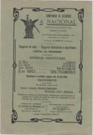 PORTUGAL - COMMERCIAL DOCUMENT - COMPANHIA DE SEGUROS - A NACIONAL - 1910 - 24,5 CM X 16,7 CM - Portugal