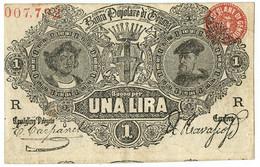 1 LIRA BIGLIETTO FIDUCIARIO BANCA POPOLARE DI GENOVA 1868 BB+ - Altri