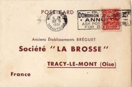 D12 Canada Lettre De ? Du 06-10-1931 Avec Flamme, Cachet Poste. Postée à Manitoba En Canada Et Destinée à La Brosse - Gebruikt
