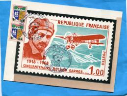 Réunion-carte Illustrée -centenaire De Roland GARROS-Cachet Expo 1968 Sur 2 Timbres Blason Saint Denis - Non Classés